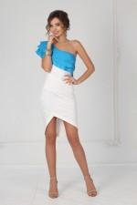Платье синий волан